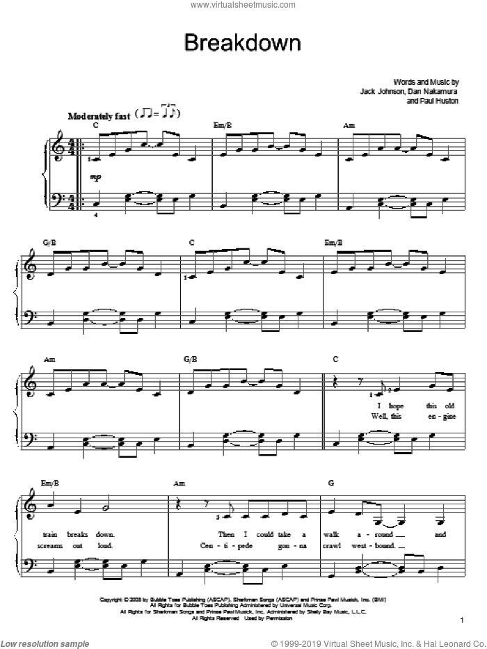 Breakdown sheet music for piano solo by Jack Johnson, easy piano. Score Image Preview.
