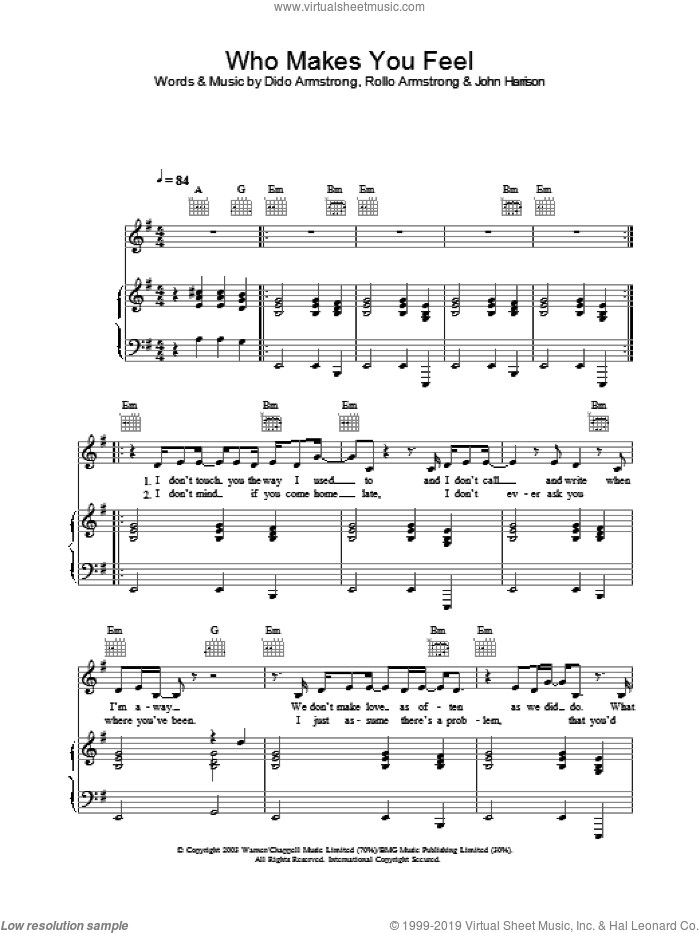 Who Makes You Feel sheet music for voice, piano or guitar by Dido Armstrong, intermediate. Score Image Preview.