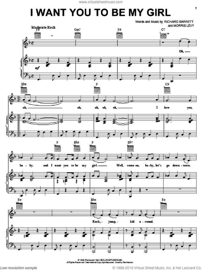 I Want You To Be My Girl sheet music for voice, piano or guitar by Richard Barrett