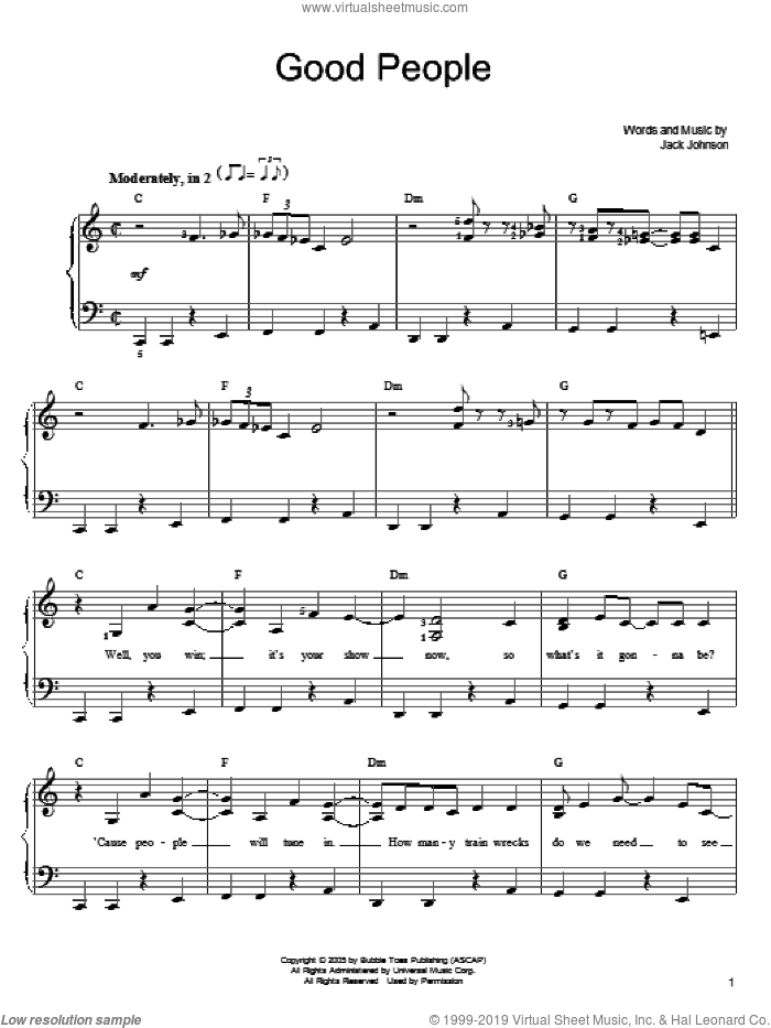 Good People sheet music for piano solo (chords) by Jack Johnson