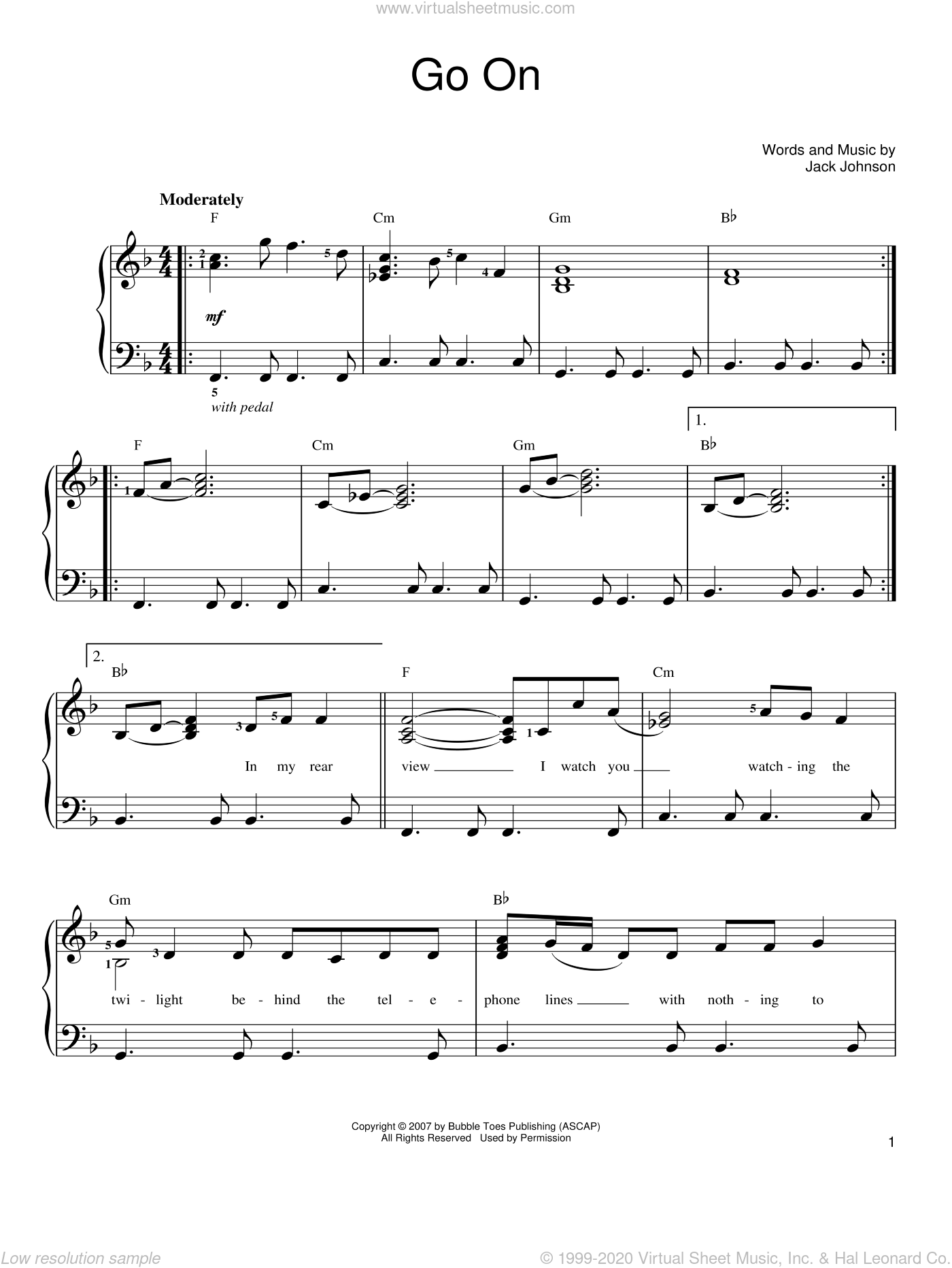 Go On sheet music for piano solo by Jack Johnson, easy skill level
