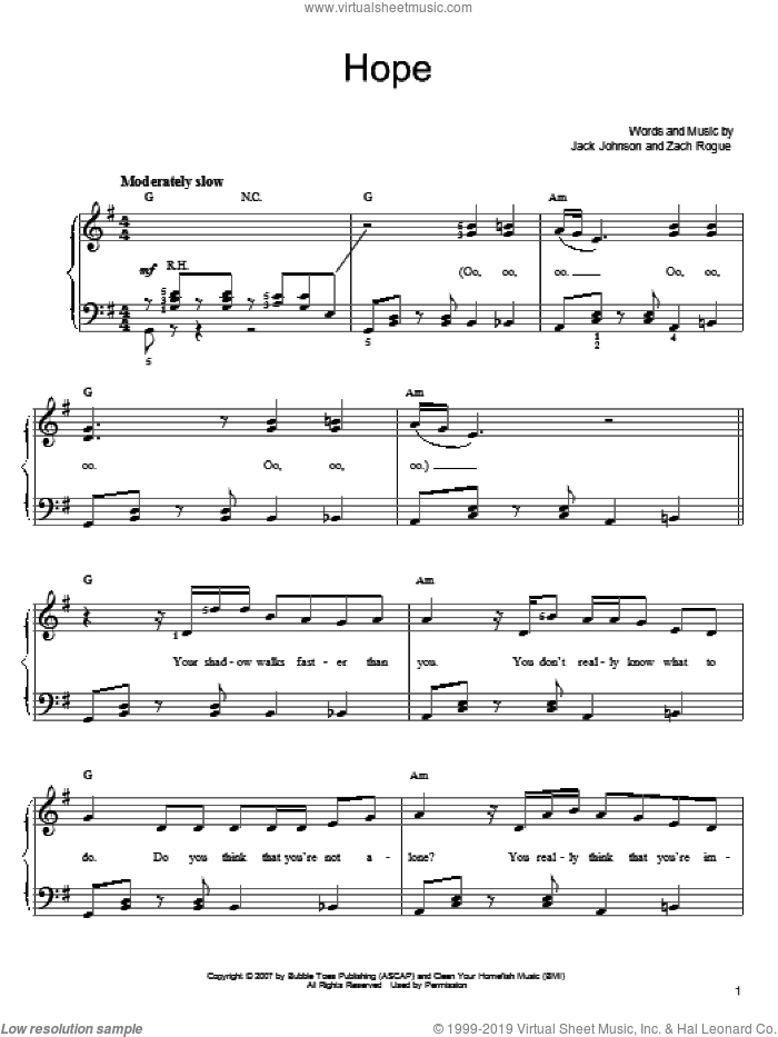Hope sheet music for piano solo by Jack Johnson and Zach Rogue, easy skill level