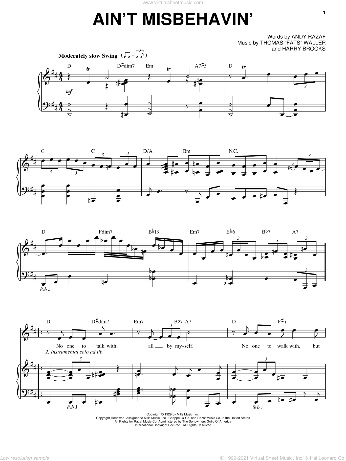 Ain't Misbehavin' sheet music for voice and piano by Fats Waller