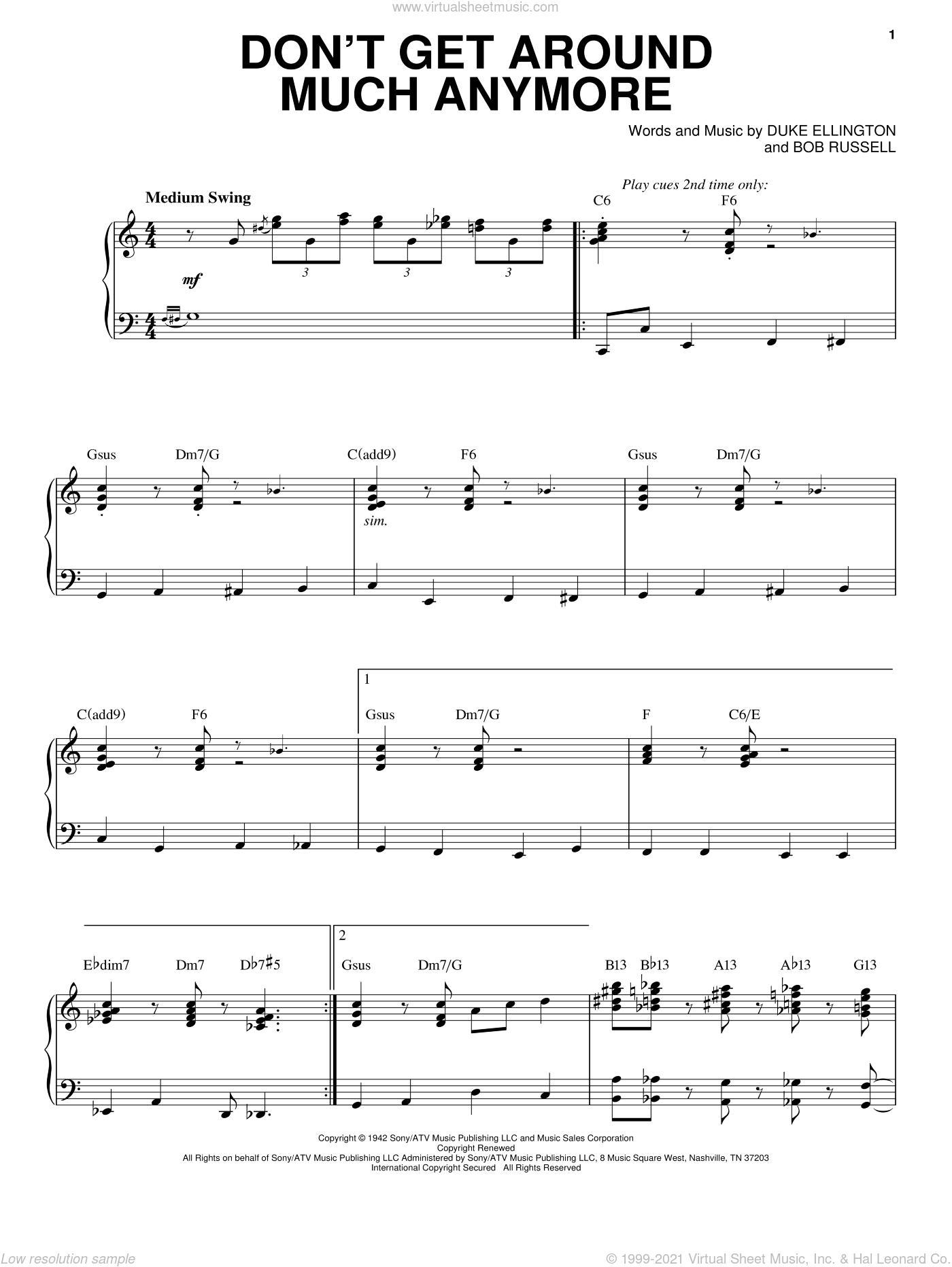 Don't Get Around Much Anymore sheet music for voice and piano by Steve Tyrell, Bob Russell and Duke Ellington, intermediate skill level