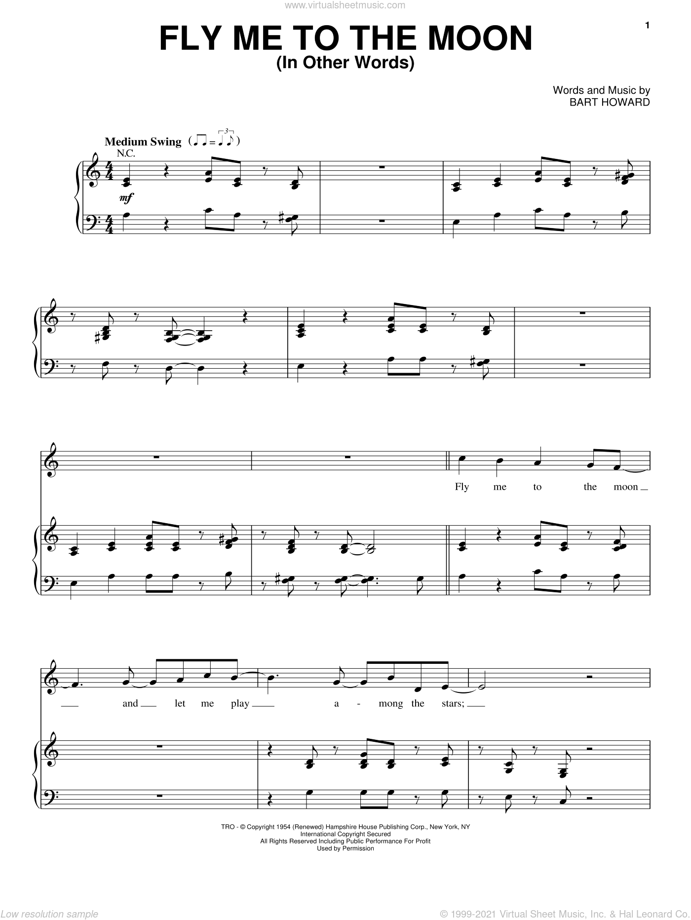 Fly Me To The Moon (In Other Words) sheet music for voice and piano by Steve Tyrell, Frank Sinatra and Bart Howard, wedding score, intermediate skill level