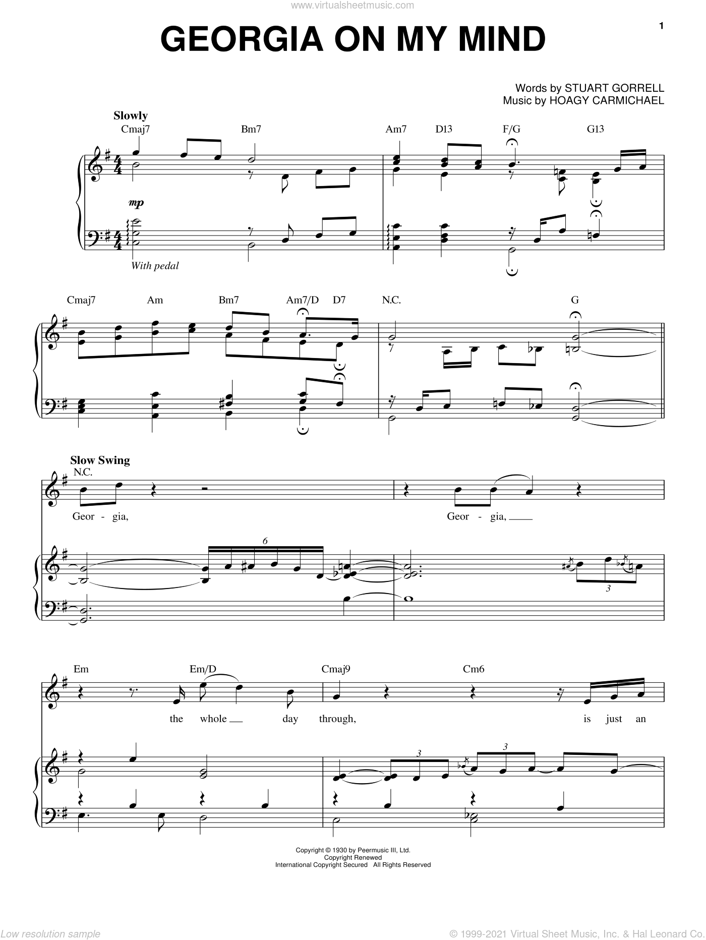Georgia On My Mind sheet music for voice and piano by Steve Tyrell, Hoagy Carmichael and Stuart Gorrell, intermediate skill level