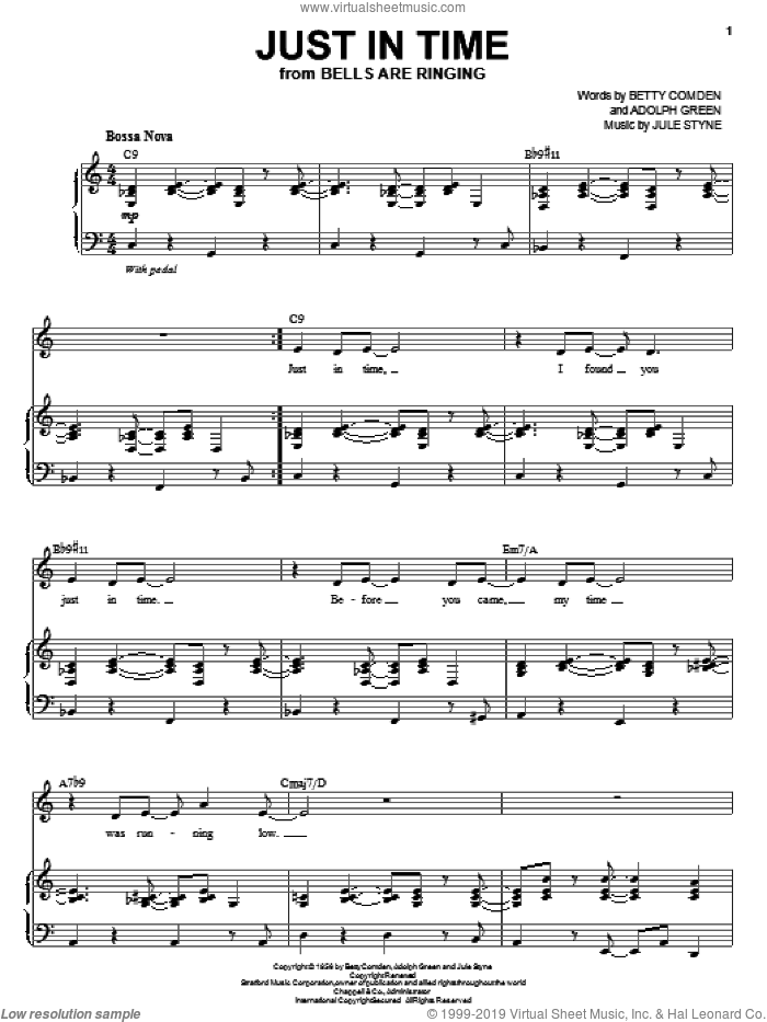 Just In Time sheet music for voice and piano by Jule Styne