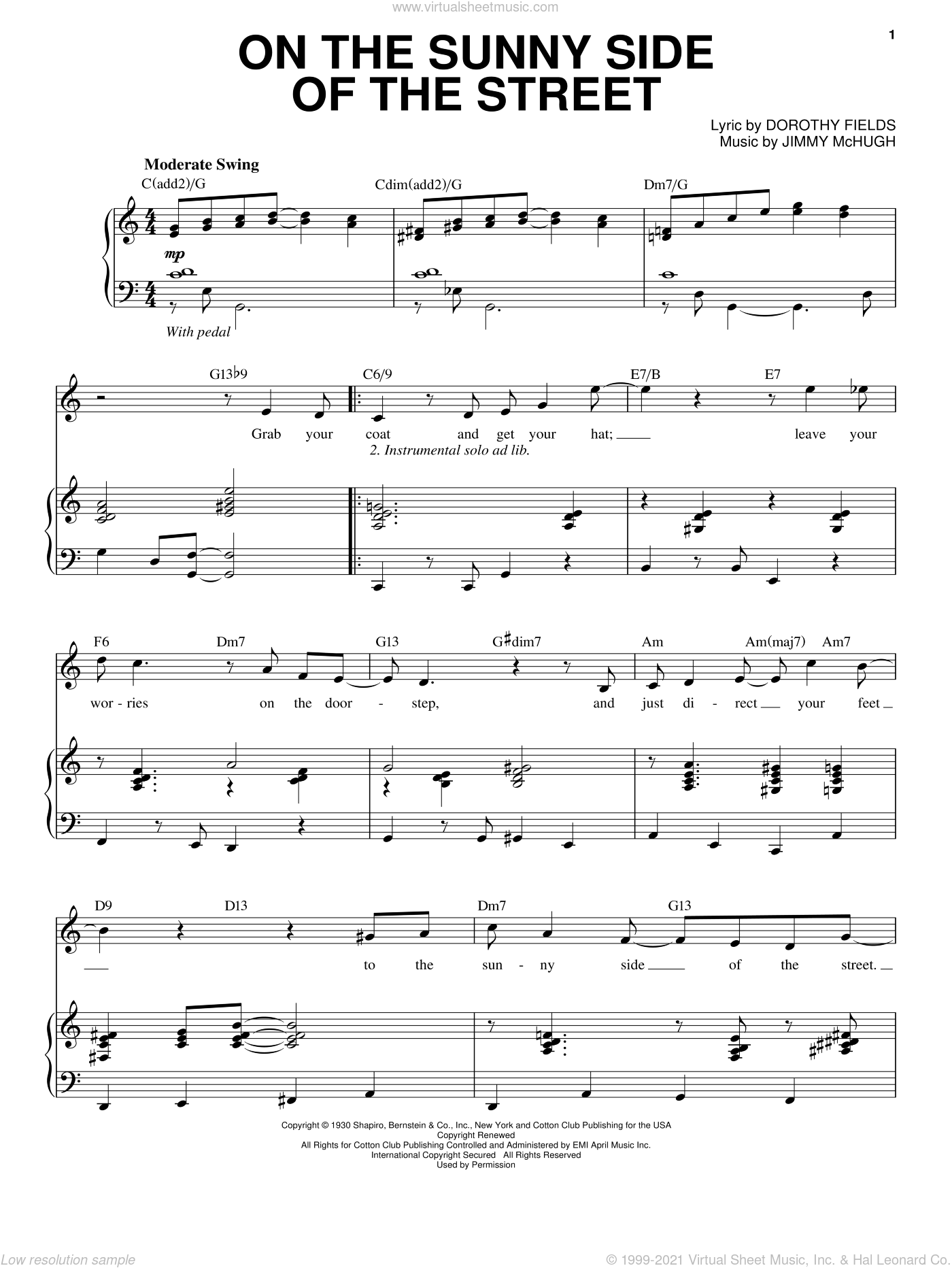 On The Sunny Side Of The Street sheet music for voice and piano by Jimmy McHugh