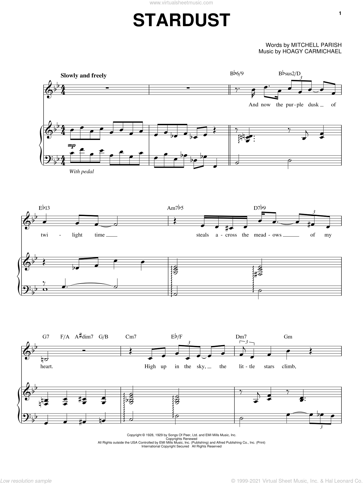 Stardust sheet music for voice and piano by Mitchell Parish