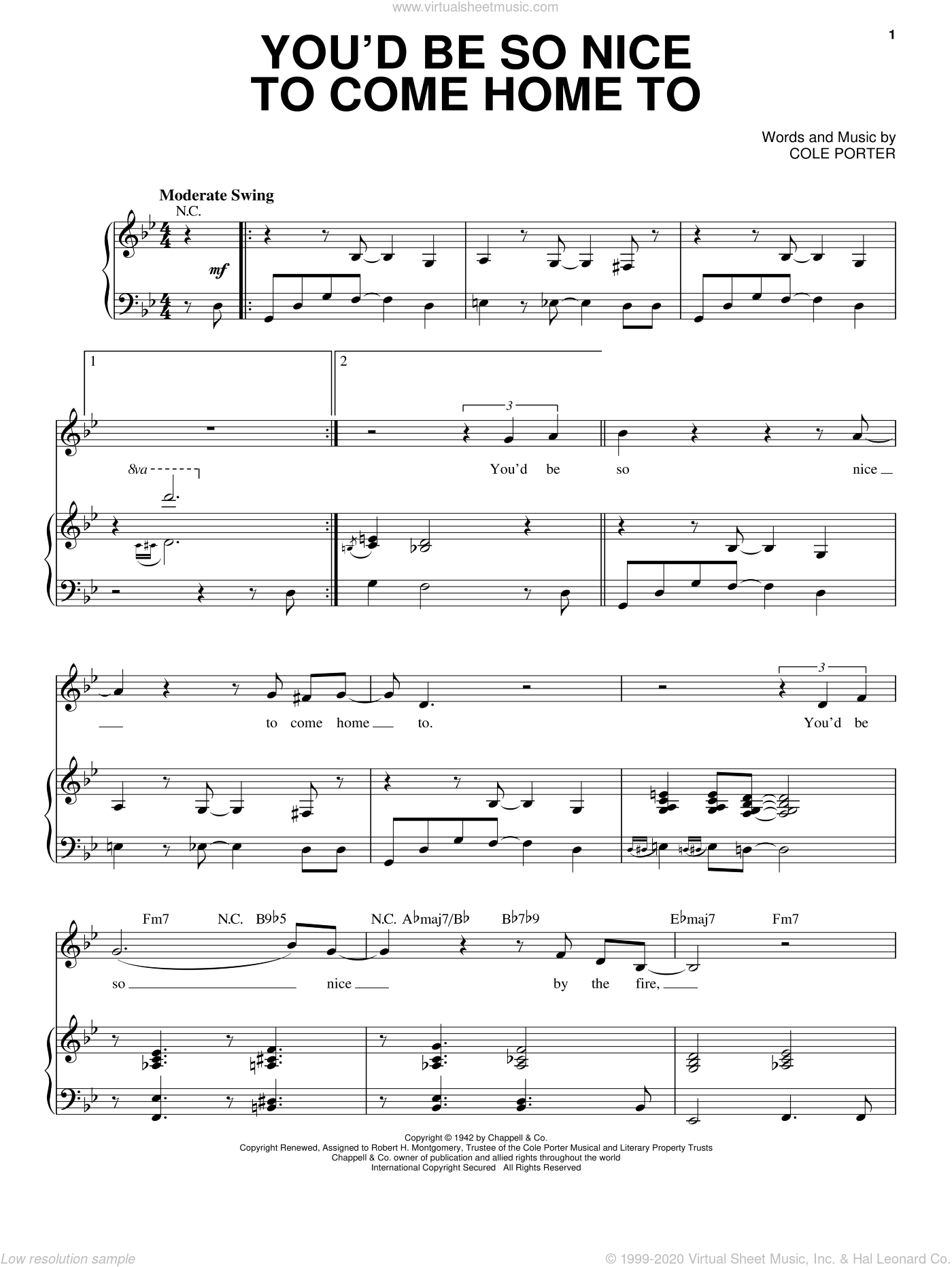 You'd Be So Nice To Come Home To sheet music for voice and piano by Steve Tyrell and Cole Porter. Score Image Preview.