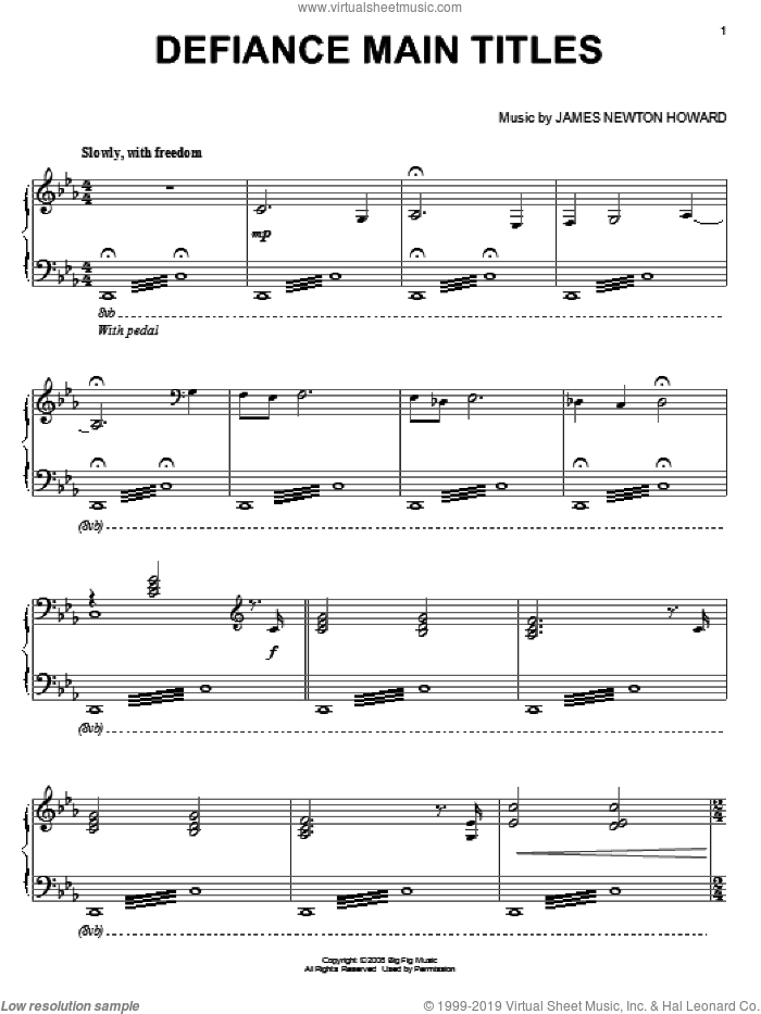 Defiance Main Titles sheet music for piano solo by James Newton Howard. Score Image Preview.