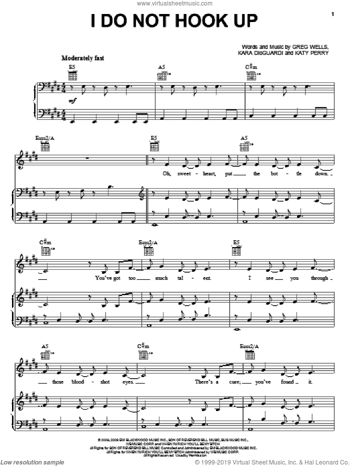 I Do Not Hook Up sheet music for voice, piano or guitar by Kelly Clarkson, Greg Wells, Kara DioGuardi and Katy Perry, intermediate skill level