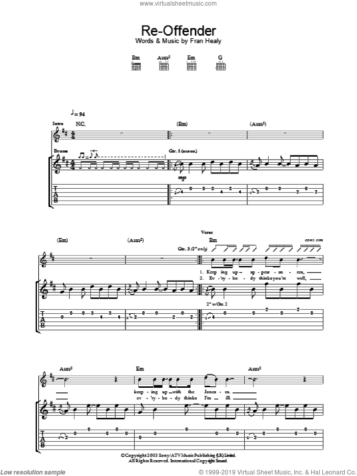 Re-Offender sheet music for guitar (tablature) by Merle Travis, intermediate guitar (tablature). Score Image Preview.