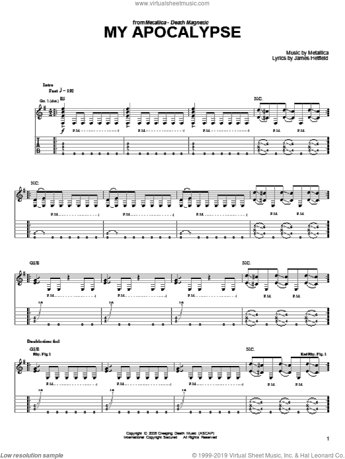 My Apocalypse sheet music for guitar solo (easy tablature) by Metallica and James Hetfield, easy guitar (easy tablature)