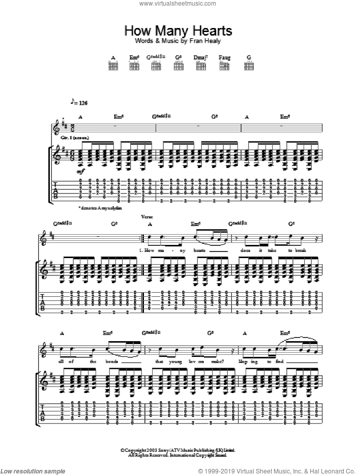 How Many Hearts sheet music for guitar (tablature) by Merle Travis. Score Image Preview.
