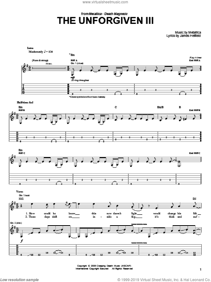 The Unforgiven III sheet music for guitar solo (easy tablature) by Metallica and James Hetfield, easy guitar (easy tablature)