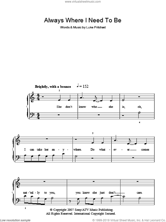 Always Where I Need To Be sheet music for piano solo by Luke Pritchard and The Kooks. Score Image Preview.