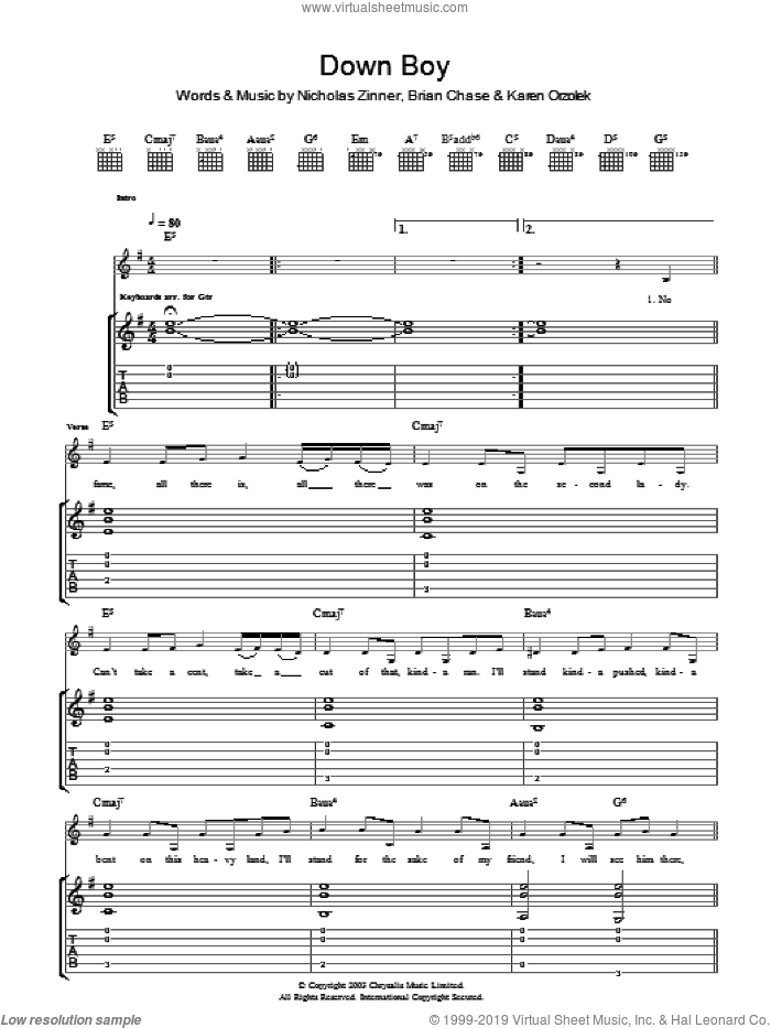 Down Boy sheet music for guitar (tablature) by Brian Chase, Yeah Yeah Yeahs and Nick Zinner. Score Image Preview.