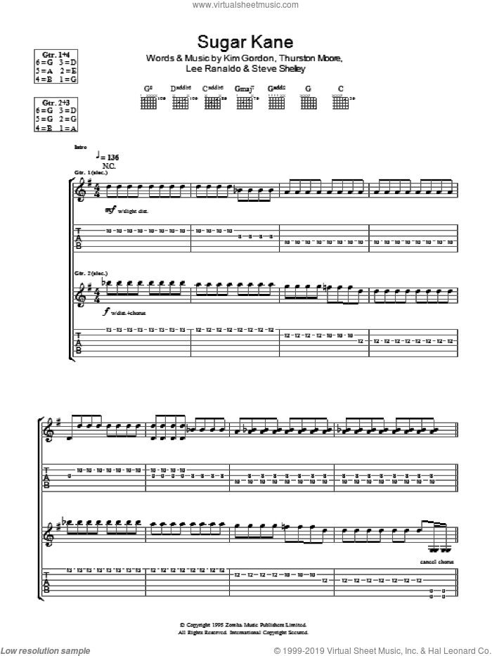 Sugar Kane sheet music for guitar (tablature) by Sonic Youth. Score Image Preview.