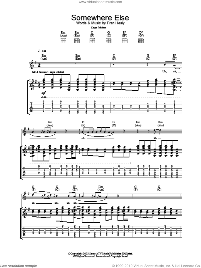 Somewhere Else sheet music for guitar (tablature) by Merle Travis, intermediate skill level