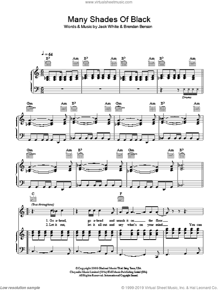 Many Shades Of Black sheet music for voice, piano or guitar by The Raconteurs featuring Adele, Adele, The Raconteurs and Jack White, intermediate voice, piano or guitar. Score Image Preview.