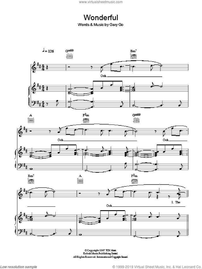 Wonderful sheet music for voice, piano or guitar by Gary Go. Score Image Preview.