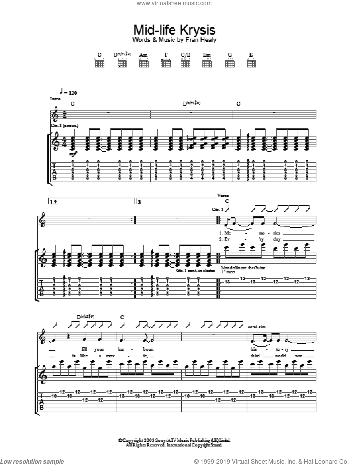 Mid-life Krysis sheet music for guitar (tablature) by Merle Travis. Score Image Preview.