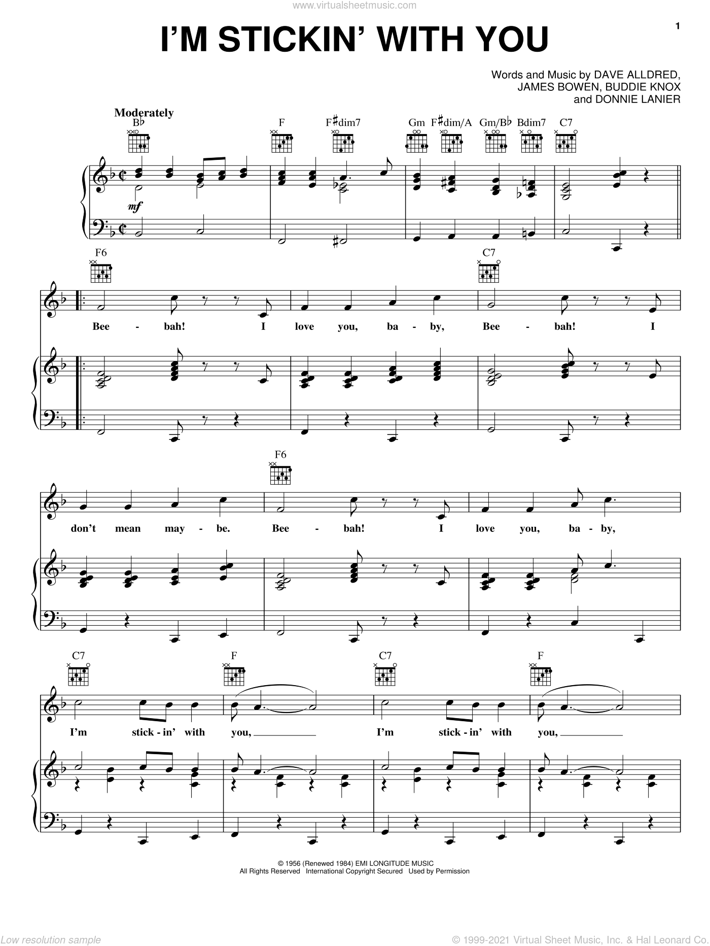I'm Stickin' With You sheet music for voice, piano or guitar by Jimmy Bowen, Buddie Knox, Buddy Knox, Dave Alldred, Donnie Lanier and James Bowen, intermediate skill level