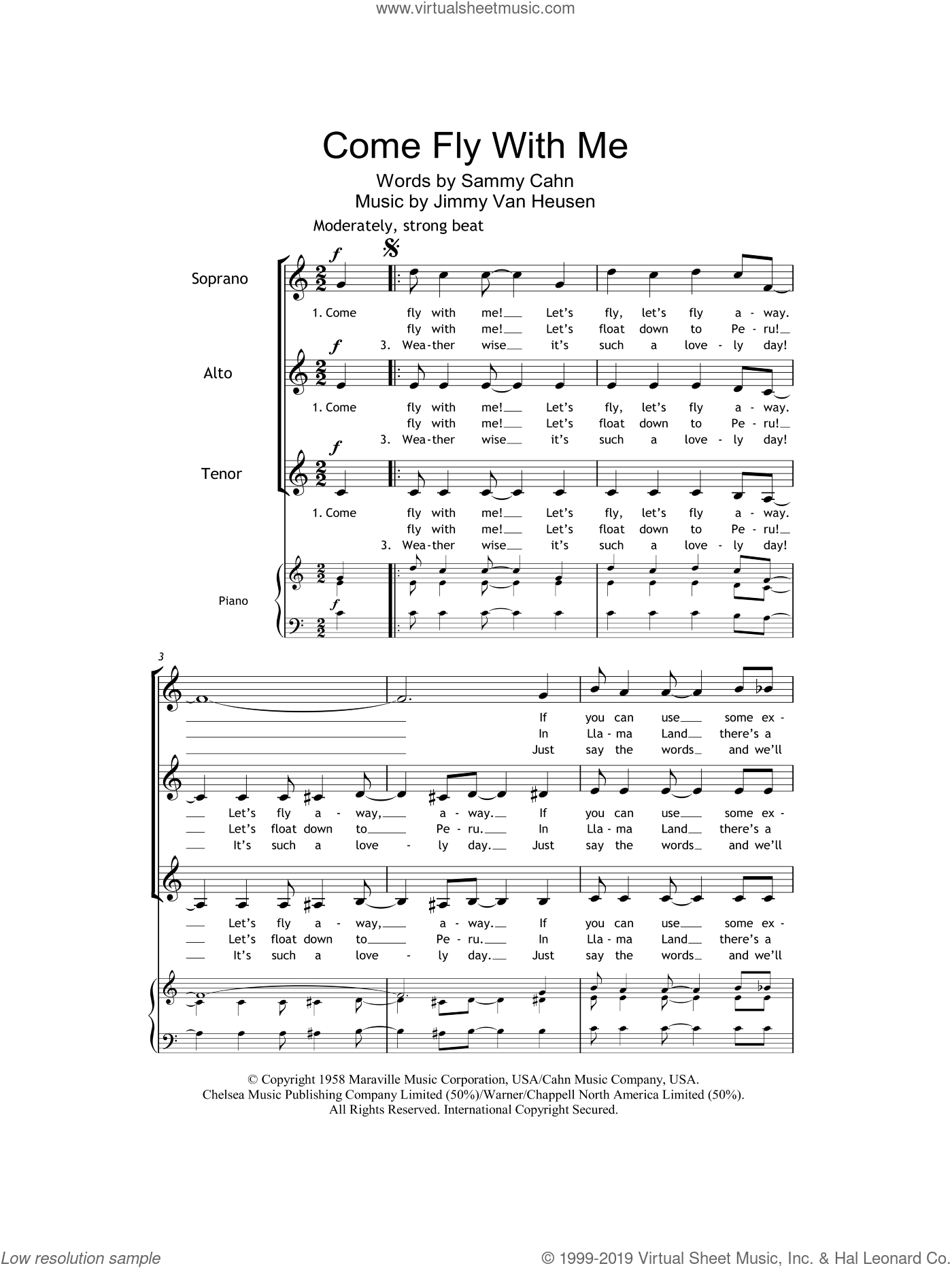 Come Fly With Me sheet music for choir and piano (SSA) by Jimmy Van Heusen