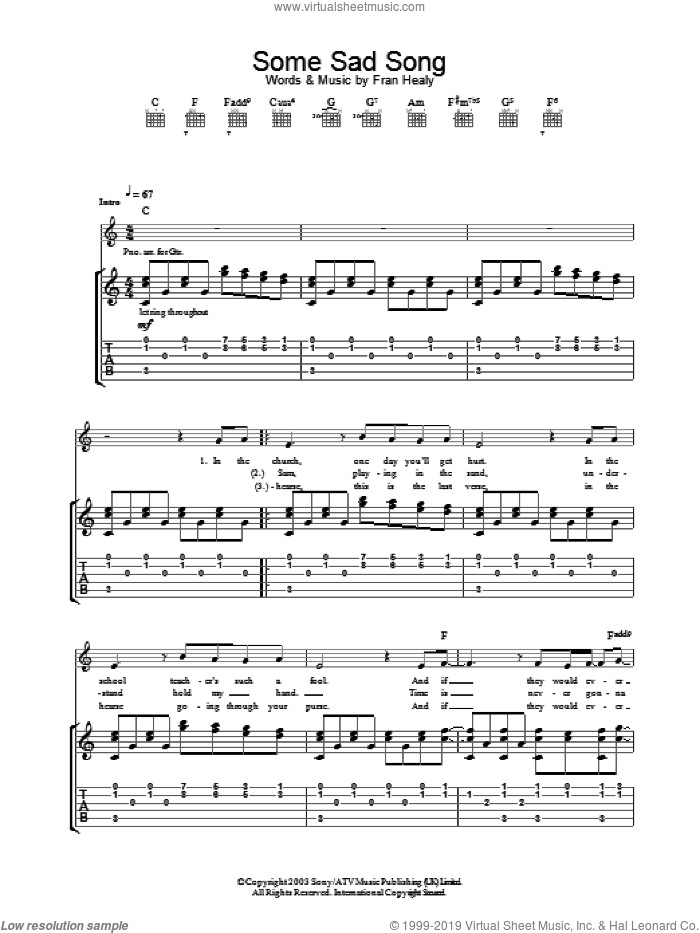 Some Sad Song sheet music for guitar (tablature) by Merle Travis. Score Image Preview.