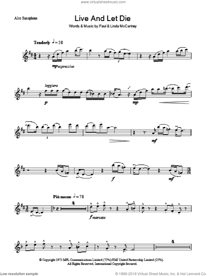Live And Let Die sheet music for voice and other instruments (fake book) by Paul McCartney, Paul McCartney and Wings and Linda McCartney, intermediate skill level