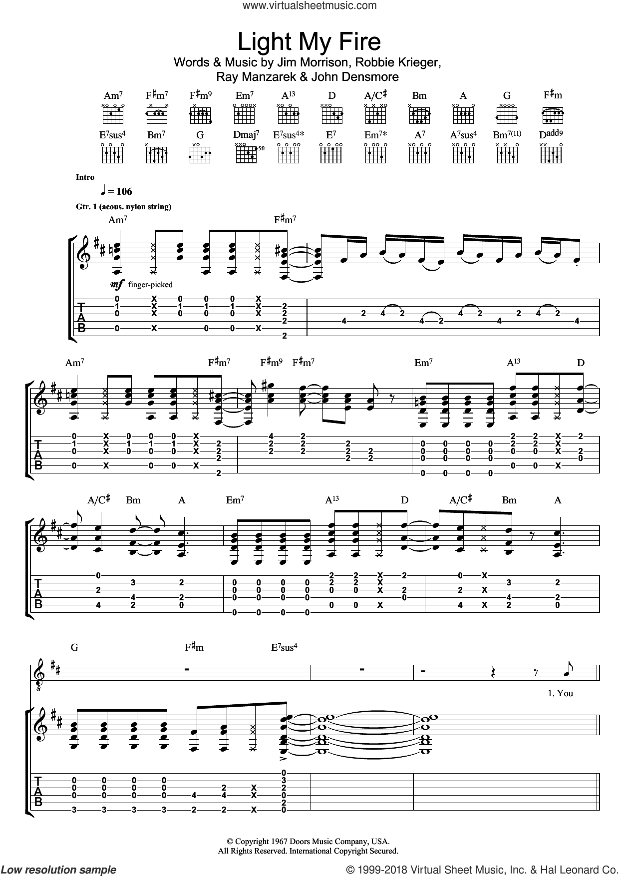 Light My Fire sheet music for guitar (tablature) by Jim Morrison