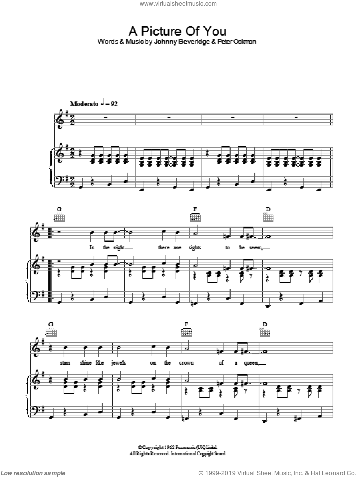 A Picture Of You sheet music for voice, piano or guitar by John Beveridge. Score Image Preview.