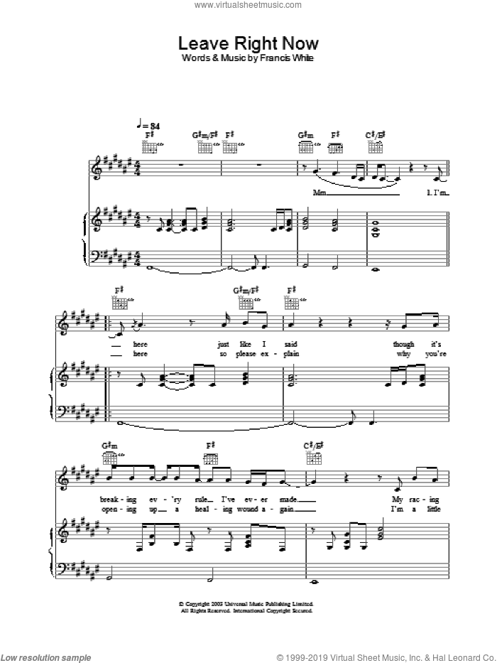 Leave Right Now sheet music for voice, piano or guitar by Will Young, intermediate. Score Image Preview.