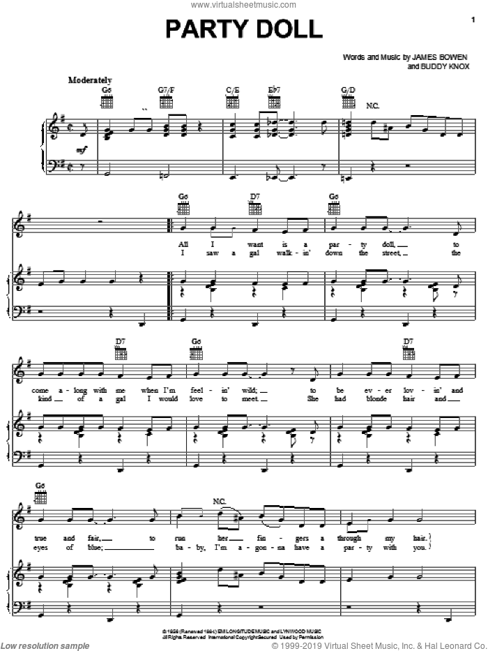 Party Doll sheet music for voice, piano or guitar by Buddy Knox and Jimmy Bowen, intermediate skill level