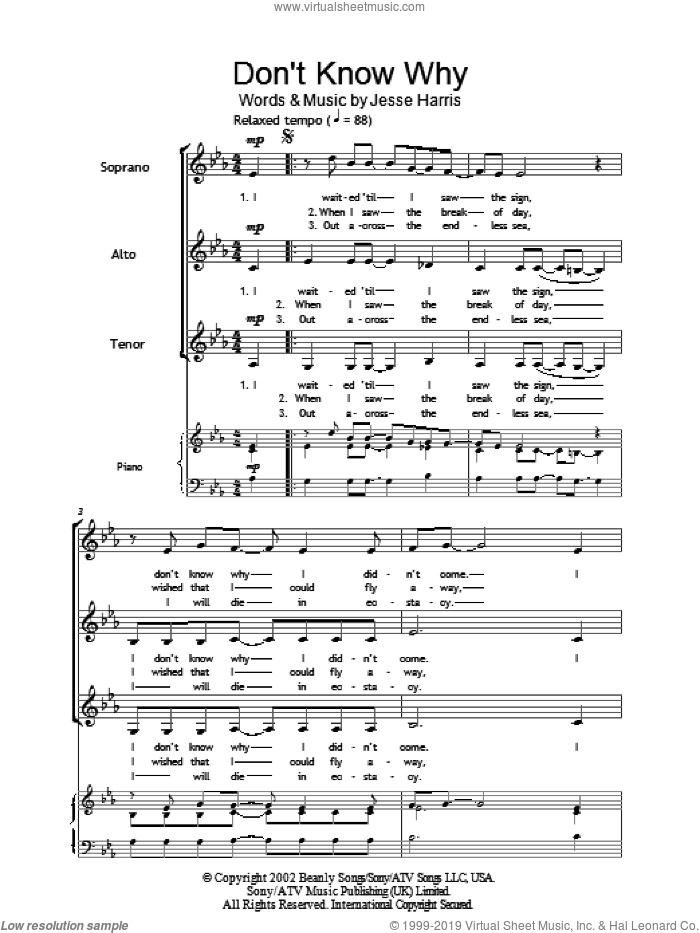 Don't Know Why sheet music for choir and piano (SSA) by Jesse Harris and Norah Jones. Score Image Preview.