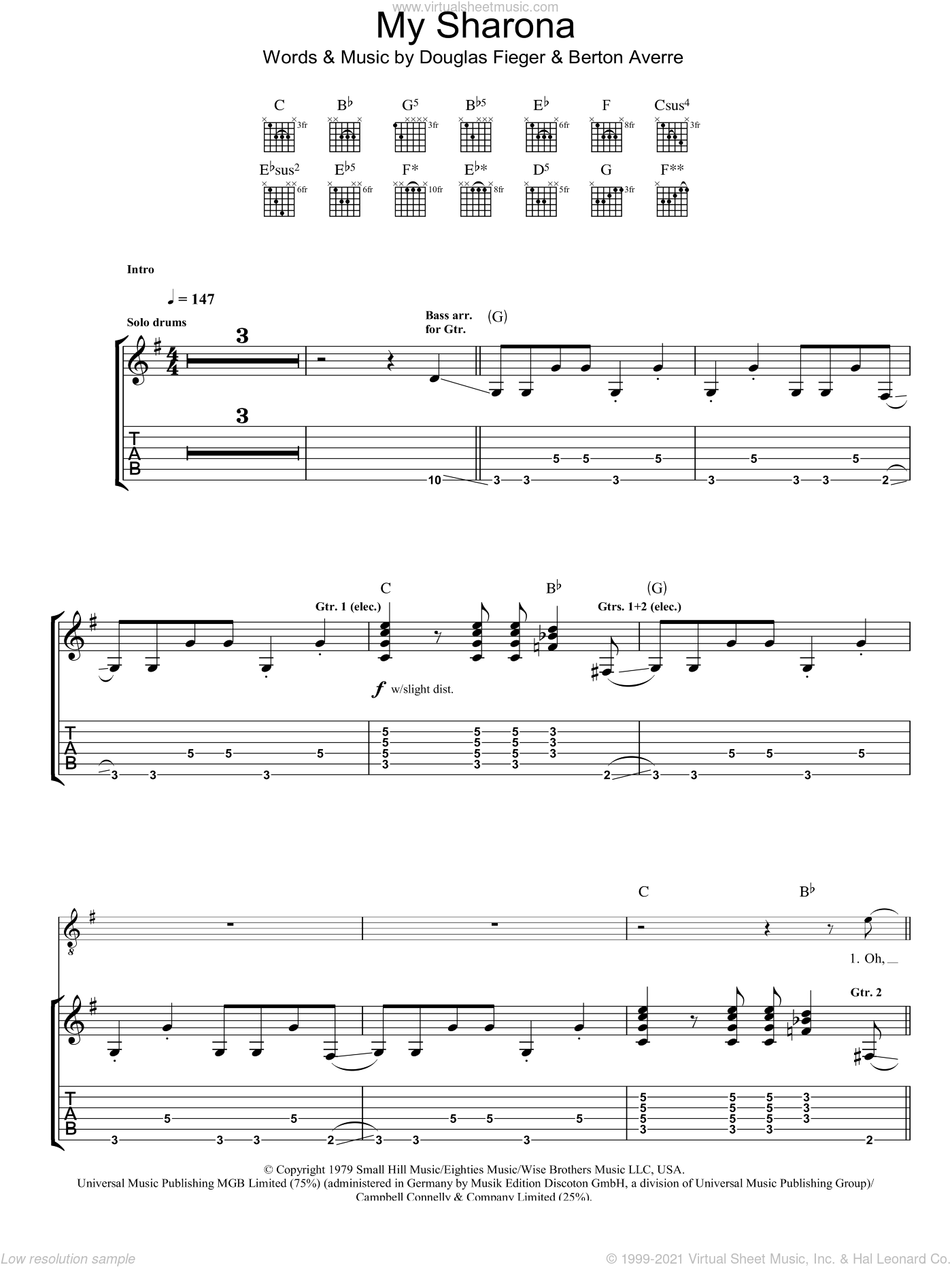 My Sharona sheet music for guitar (tablature) by Berton Averre and Doug Fieger