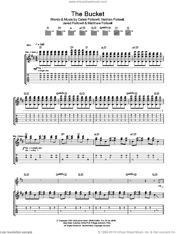 The Bucket sheet music for guitar (tablature) by Kings Of Leon. Score Image Preview.