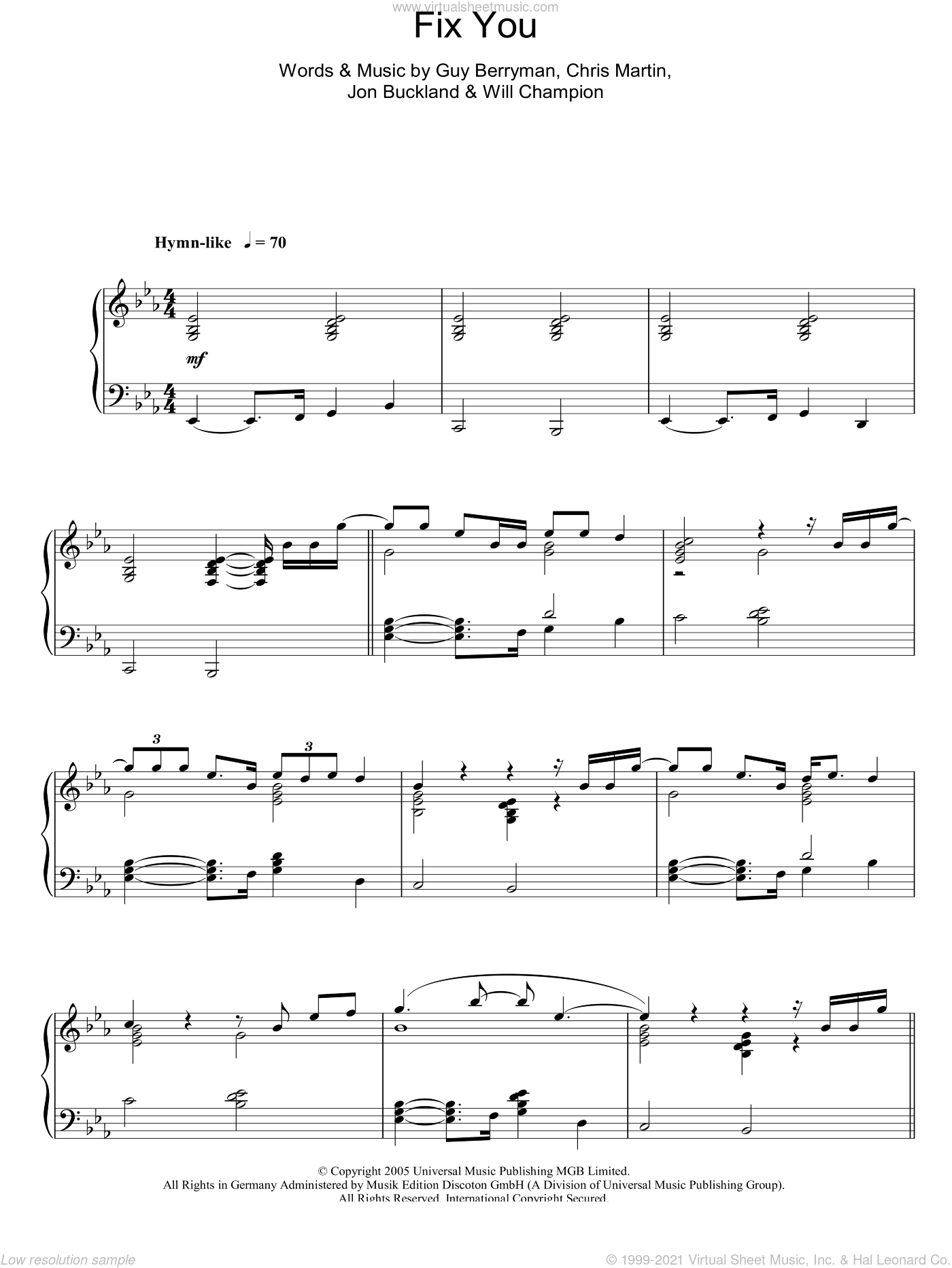 Fix You, (intermediate) sheet music for piano solo by Coldplay, Chris Martin, Guy Berryman, Jon Buckland and Will Champion, intermediate skill level
