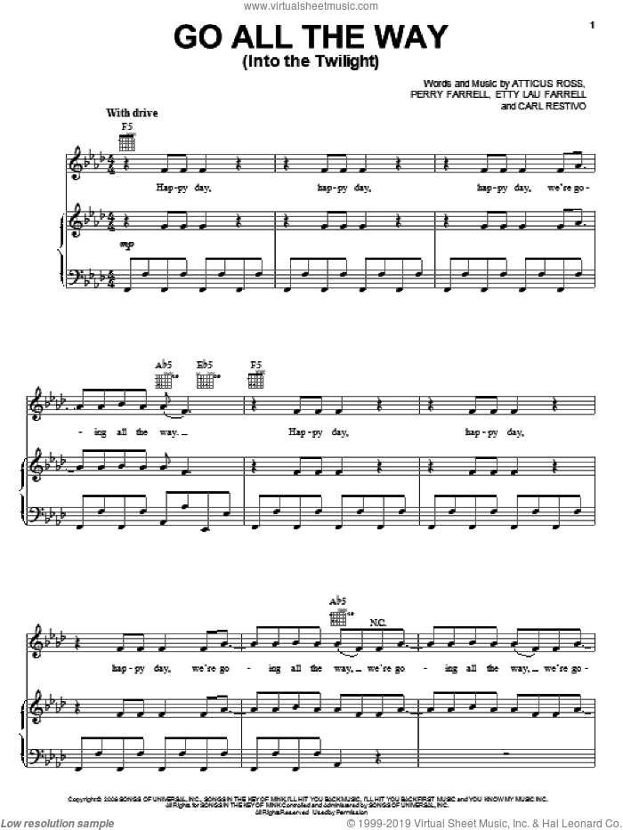 Go All The Way (Into The Twilight) sheet music for voice, piano or guitar by Etty Lau Farrell and Perry Farrell. Score Image Preview.