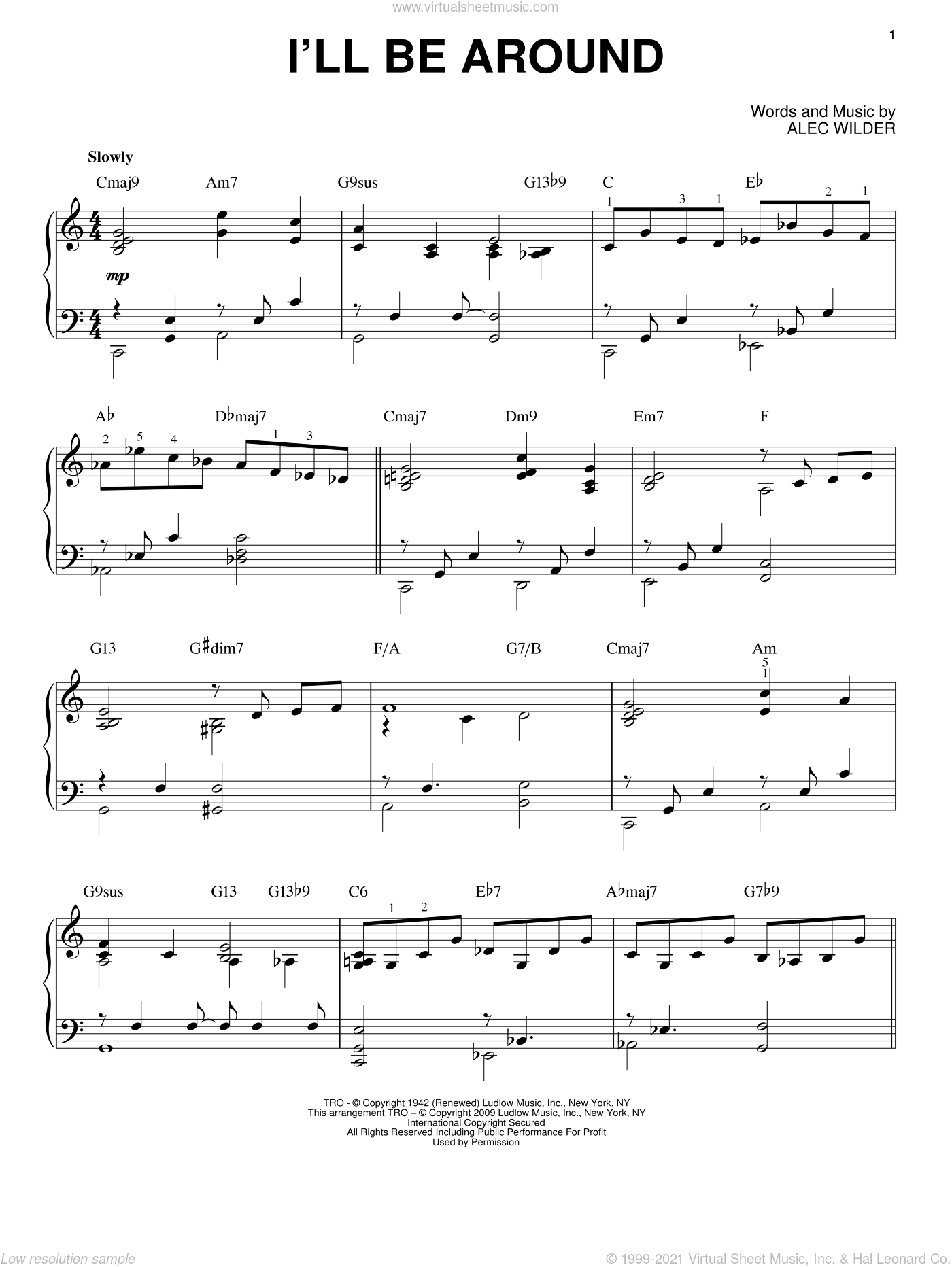 I'll Be Around sheet music for piano solo by Alec Wilder, intermediate skill level