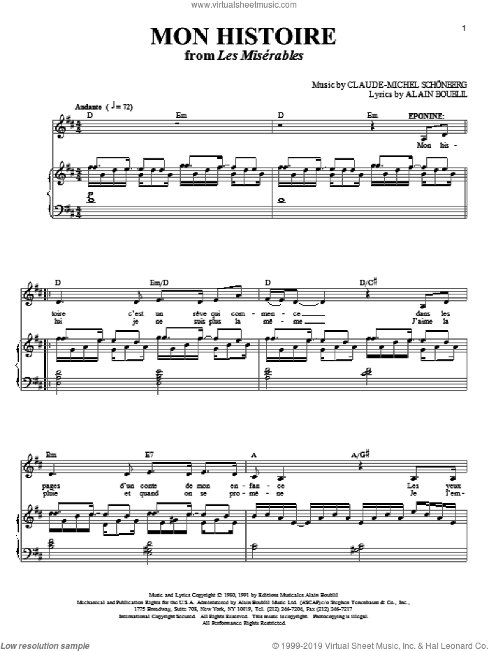 Mon Histoire sheet music for voice and piano by Alain Boublil, Les Miserables (Musical), Claude-Michel Schonberg and Michel LeGrand, intermediate voice. Score Image Preview.