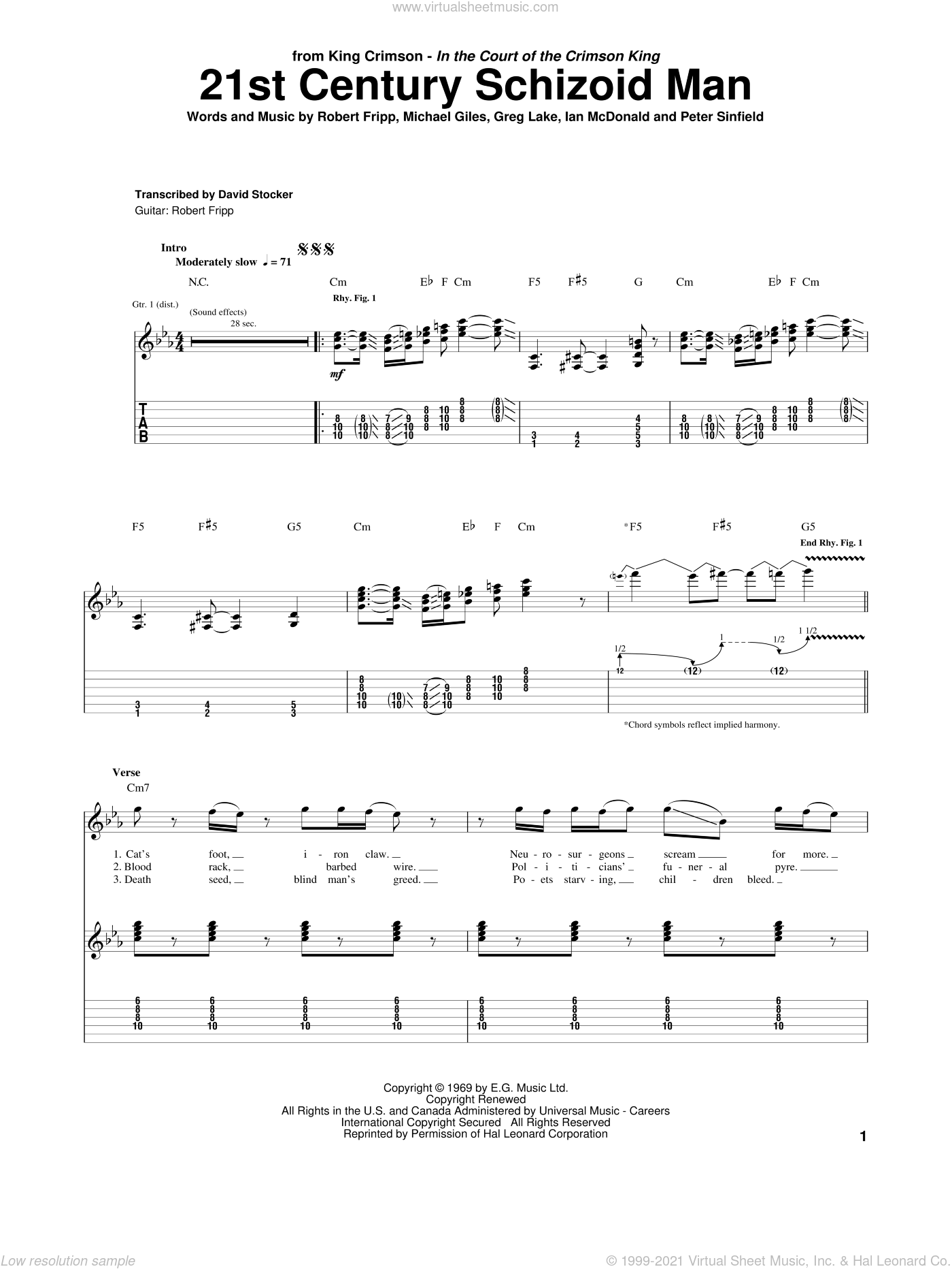 21st Century Schizoid Man sheet music for guitar (tablature) by Robert Fripp, Greg Lake and Peter Sinfield. Score Image Preview.