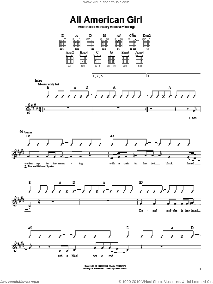 All American Girl sheet music for guitar solo (chords) by Melissa Etheridge, easy guitar (chords). Score Image Preview.