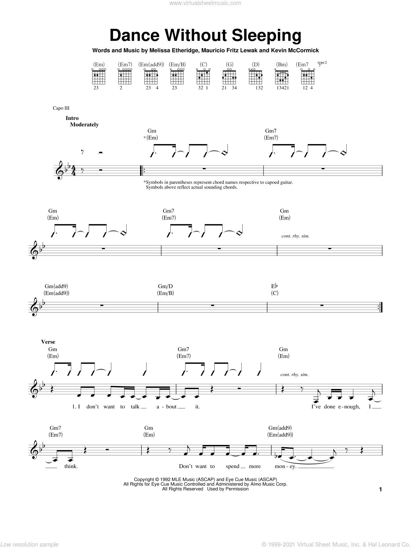 Dance Without Sleeping sheet music for guitar solo (chords) by Melissa Etheridge, Kevin McCormick and Mauricio Fritz Lewak, easy guitar (chords). Score Image Preview.