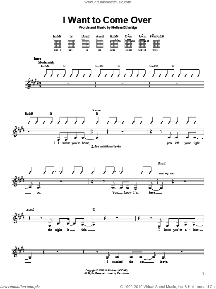 I Want To Come Over sheet music for guitar solo (chords) by Melissa Etheridge, easy guitar (chords). Score Image Preview.