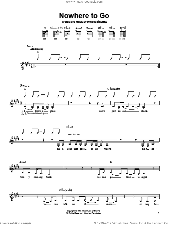 Nowhere To Go sheet music for guitar solo (chords) by Melissa Etheridge. Score Image Preview.