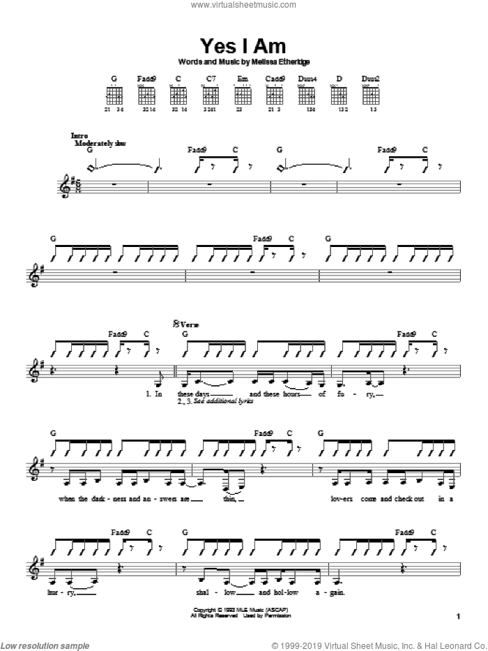 Yes I Am sheet music for guitar solo (chords) by Melissa Etheridge