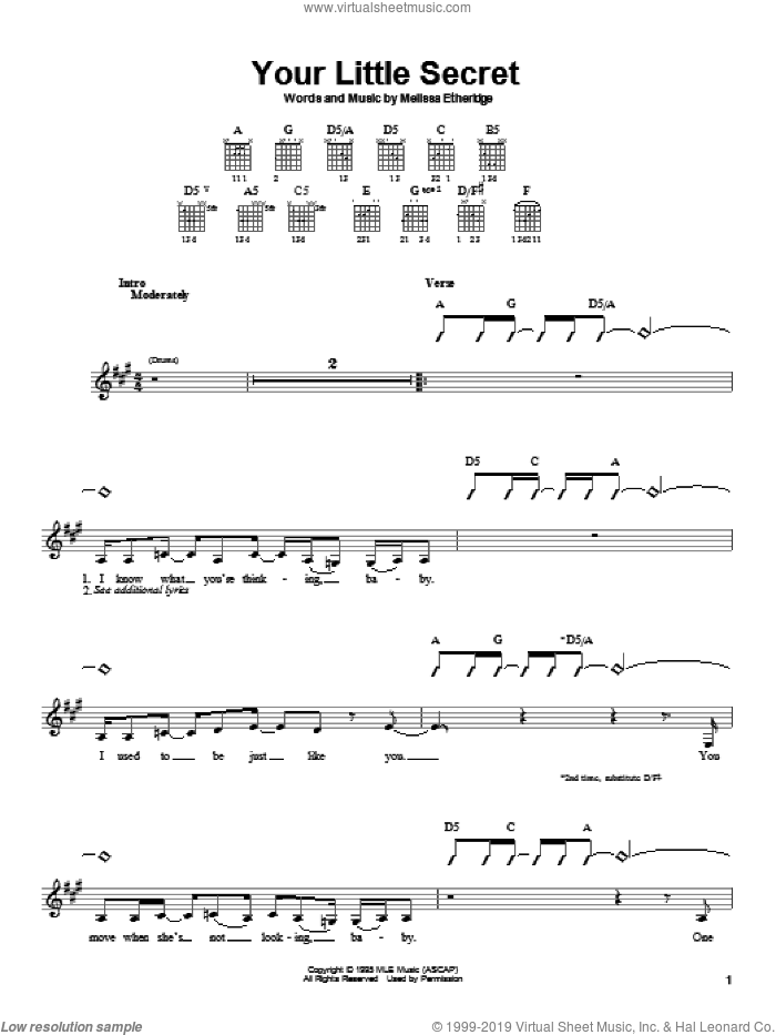 Your Little Secret sheet music for guitar solo (chords) by Melissa Etheridge, easy guitar (chords). Score Image Preview.