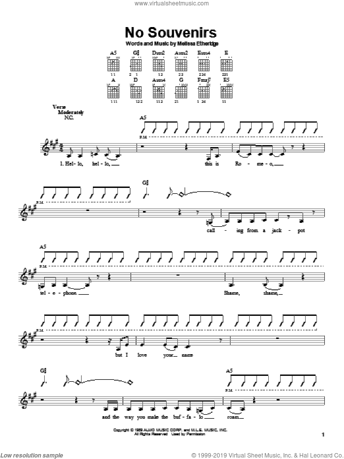 No Souvenirs sheet music for guitar solo (chords) by Melissa Etheridge. Score Image Preview.